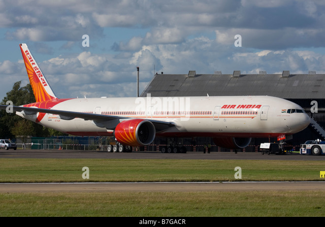 Air India Boeing 777-337/ER  at Farnborough International Airshow 2008, United Kingdom. - Stock Image