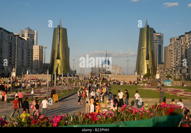 Floral flourishes decorate Nurzhol Boulevard, or 'Radiant Path in center of Astana capital of Kazakhstan - Stock Image