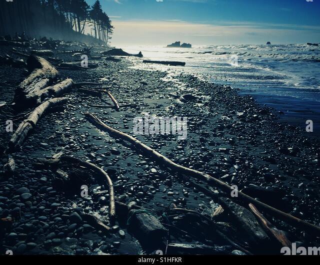 Famous Ruby Beach on the Pacific Coast of Olympic Peninsula, WA, USA - Stock Image