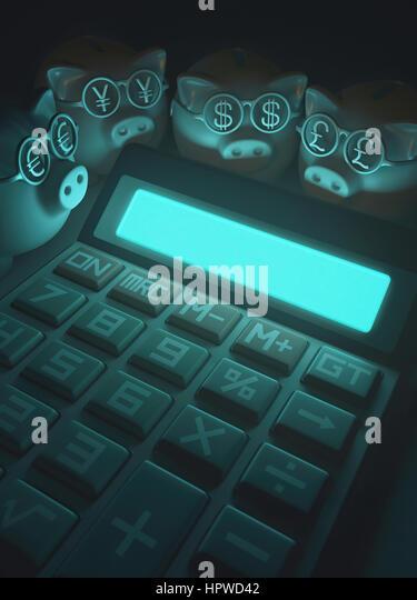 Calculator with piggy banks and dollar symbols, illustration. - Stock-Bilder