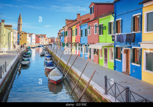 Beautiful corners of the lagoon of Venice and Burano in the afternoon sun. - Stock Image