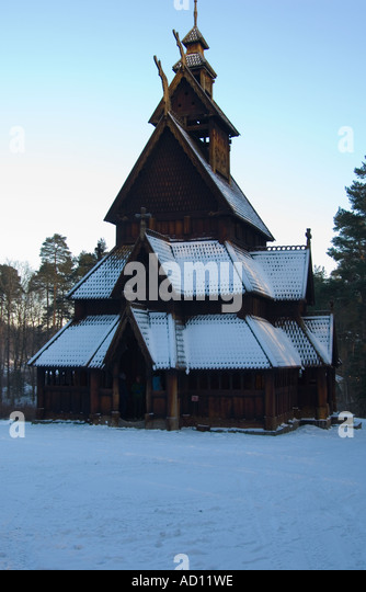 Gol Stave Church at the Norsk Folkesmuseum on Bygdoy, Oslo, Norway - Stock Image