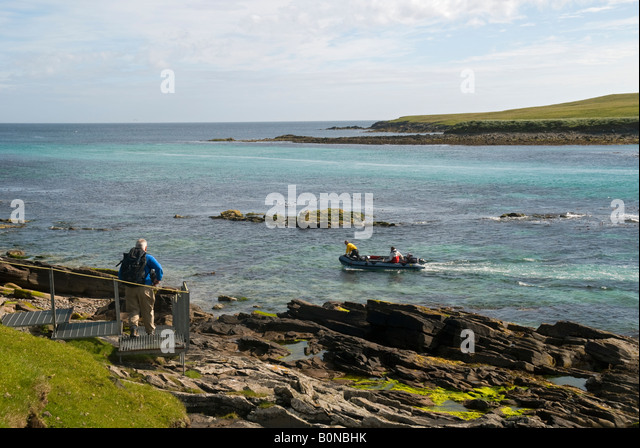 The ferry that runs between the islands of Bressay and Noss, Shetland Islands, Scotland, UK - Stock Image