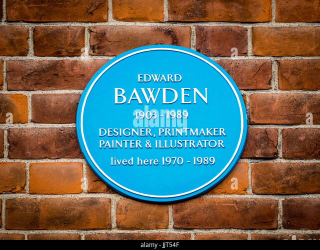 Edward Bawden - Blue Plaque for the artist, illustrator and printmaker in Saffron Walden in North Essex, UK - Stock Image