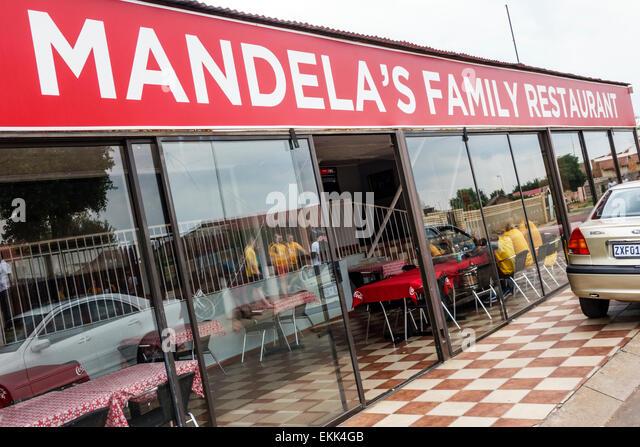 South Africa African Johannesburg Soweto Vilakazi Street Precinct Mandela's Family Restaurant restaurant front - Stock Image