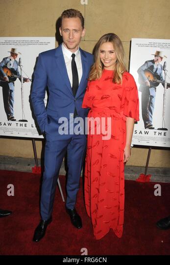 Hollywood, CA, USA. 22nd Mar, 2016. Tom Hiddleston, Elizabeth Olsen. ''I Saw The Light'' Los Angeles - Stock Image