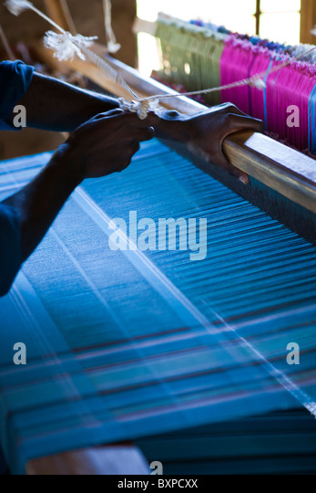 Weaving looms outside Jinja Uganda - Stock Image