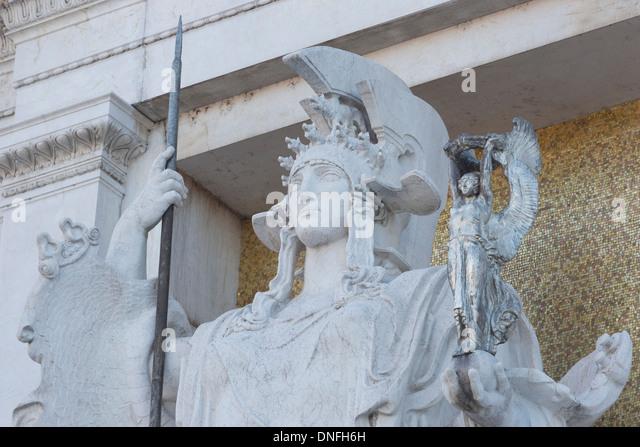 Statue at the National Memorial to King Vittorio Emanuele II, Vittoriano or Altare della Patria, Rome, Lazio, Italy - Stock Image