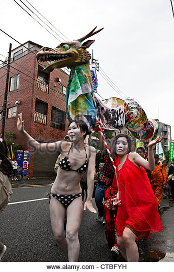 Residents of Suginami hold a 'Zero Nuclear Power Celebration Parade' in Koenji, Tokyo. - Stock Image