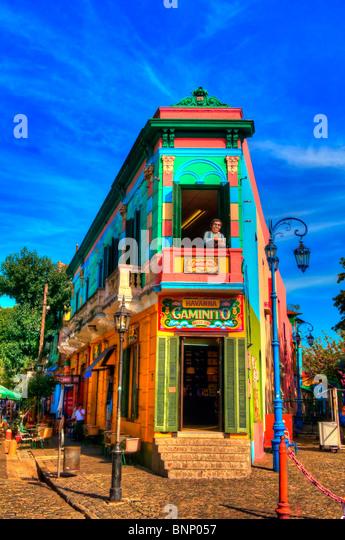 The colorful neighbourhoud of La Boca, Bueonos Aires, Argentina - photo taken on April 05 , 2010 - Stock Image