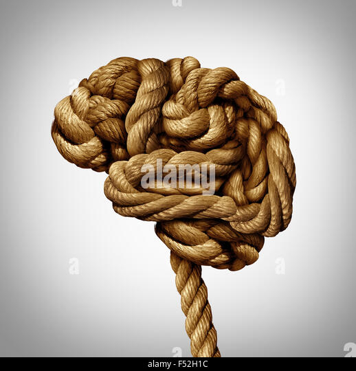 Tangled brain mental health concept as a rope twisted into a human thinking organ as a medical neurological symbol - Stock-Bilder
