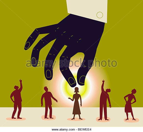 Large hand reaching down to pick up businesswoman - Stock-Bilder