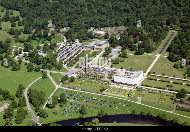 Aerial image of Chatsworth House, Derbyshire - Stock Image