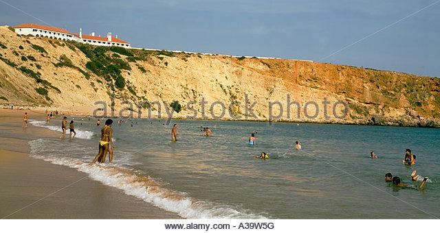 Portugal Algarve Atlantikc coast beach Praia de Mareta Sagres Portugal Atlantik Kueste Badestrand - Stock Image
