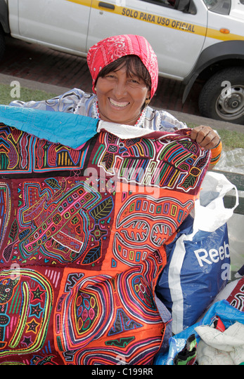 Panama City Panama Casco Viejo San Felipe souvenirs Kuna Indian mola shopping outdoor market display vendor indigenous - Stock Image