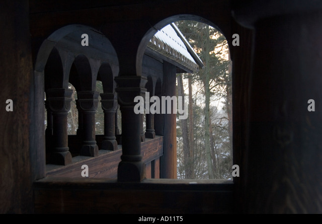 Entrance to the Gol Stave Church at the Norsk Folkesmuseum on Bygdoy, Oslo, Norway - Stock Image