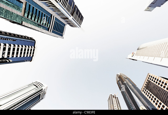 Towers, skyscrapers, hotels, modern architecture, Sheikh Zayed Road, Financial District, Dubai, United Arab Emirates - Stock Image