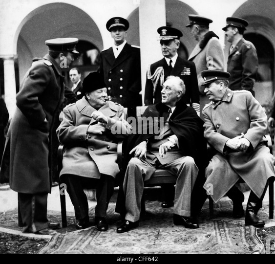 Churchill,Roosevelt and Stalin at the Yalta Conference,1945 - Stock-Bilder