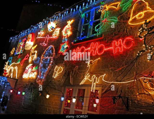 Christmas lights being overdone on a house - Stock Image