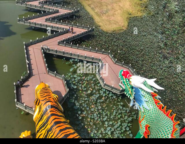 Kaohsiung Taiwan Lotus pond and Dragon and Tiger Pagodas - Stock Image
