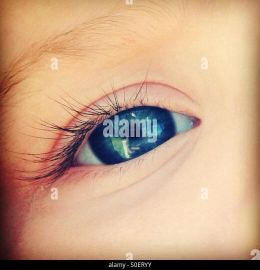 Beautiful blue baby eye - Stock Image