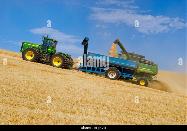 A John Deere combine harvests barley on steep hillside terrain and unloads the harvested barley into a grain cart - Stock Image
