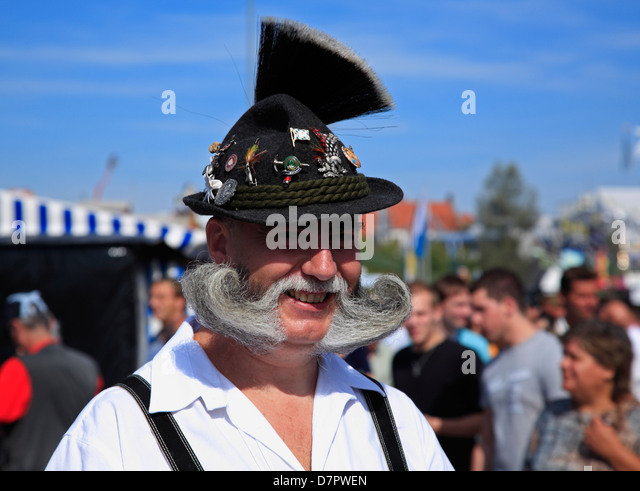 Oktoberfest, traditional old bavarian at Theresienwiese fairground, Munich, Bavaria, Germany - Stock Image