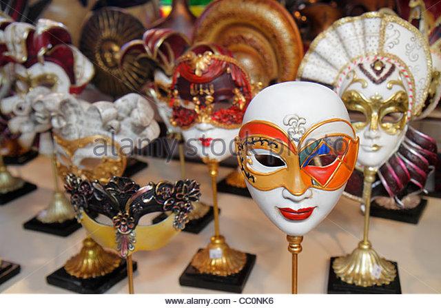 Louisiana New Orleans Port of New Orleans Riverwalk Marketplace Mardi Gras carnival masquerade mask decor shopping - Stock Image