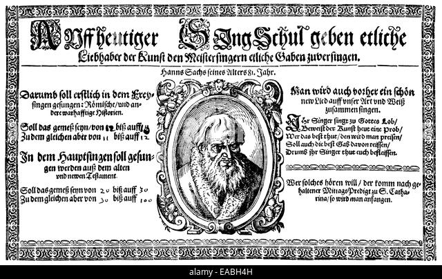 Historic print, woodcut, late 16th century, leaflet, invitation of the Nuremberg Meistersingers, Einladung der Meistersinger, - Stock Image