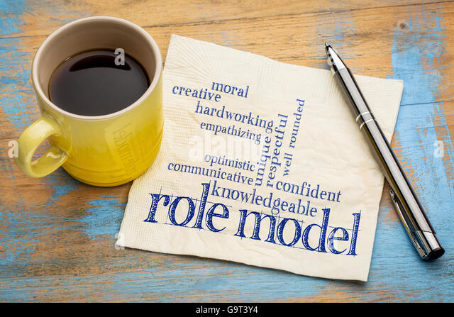 role model qualities word cloud -handwriting on a napkin with a cup of coffee - Stock Image