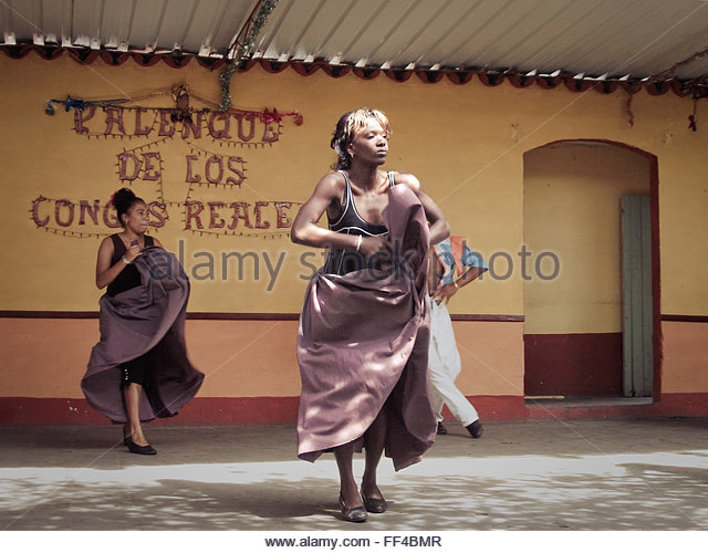 Dancers perform traditional dances in Trinidad, Cuba - Stock Image