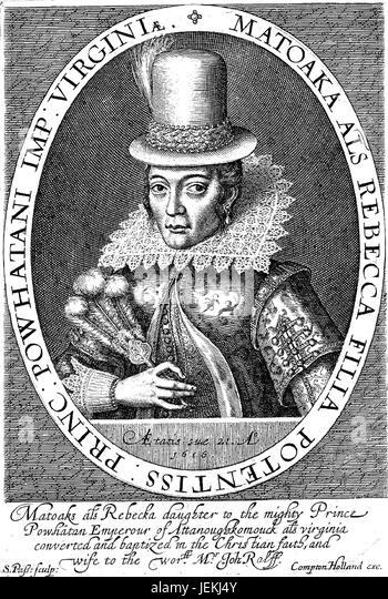 POCAHONTAS (c 1596-1617) Native American in a 1616 engraving by Simon de Passe - Stock-Bilder