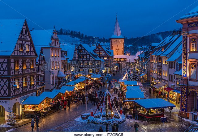Germany Baden Wurrtemberg Black Forest Gengenbach Christmas market on the village square and Advent calendar on - Stock Image
