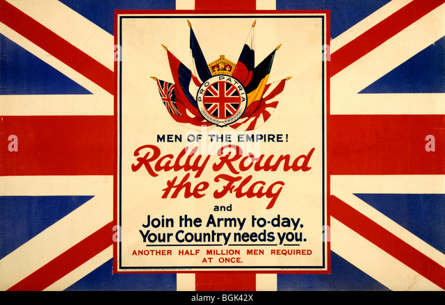 WWI poster showing the flags of the Allies, against a backdrop of the British flag - Stock Image