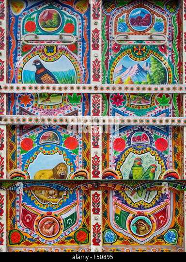 Details from an elaborate and artistically decorated colourful Bedford truck in Pakistani  style, animal motifs - Stock-Bilder