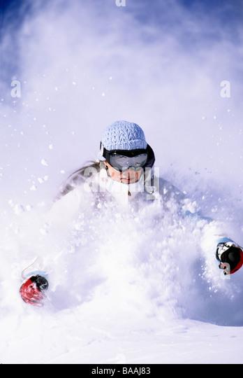 Woman skiing in Utah. - Stock Image