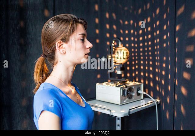 Optokinetic ball, optokinetic stimulation used in vestibular rehabilitation, Limoges hospital, France. - Stock Image