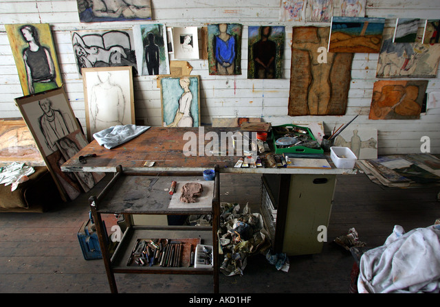 St Ives artists studios on Porthmeor Beach in Cornwall, England, UK - Stock Image
