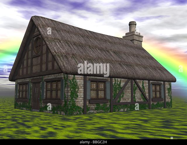 3D Illustration of a cottage - Stock Image
