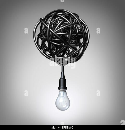 Creative advice concept as a lightbulb or light bulb hanging down from a tangled chaos of twisted electric cord - Stock-Bilder