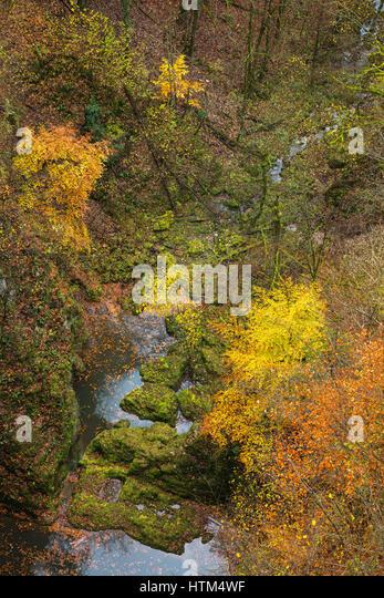 Autumn colours beneath the Pont du Diable, Canyon du Petit Lison, Franche-Comté, France - Stock-Bilder
