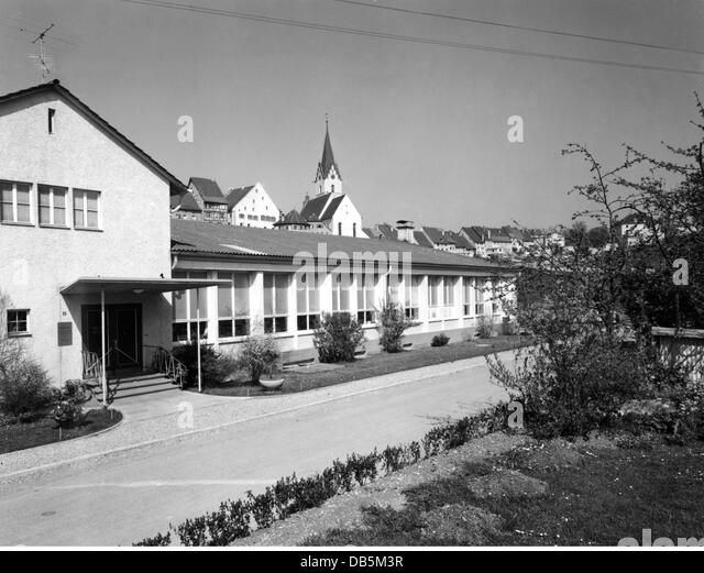 industry, textile, Schiesser, factory, exterior view, Radolfzell, Germany, 1961, 1960s, 60s, 20th century, historic, - Stock Image