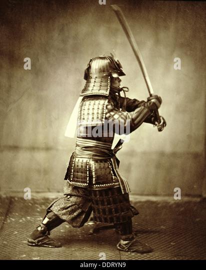 Samurai with raised sword, c1860. Artist: Felice Beato - Stock Image