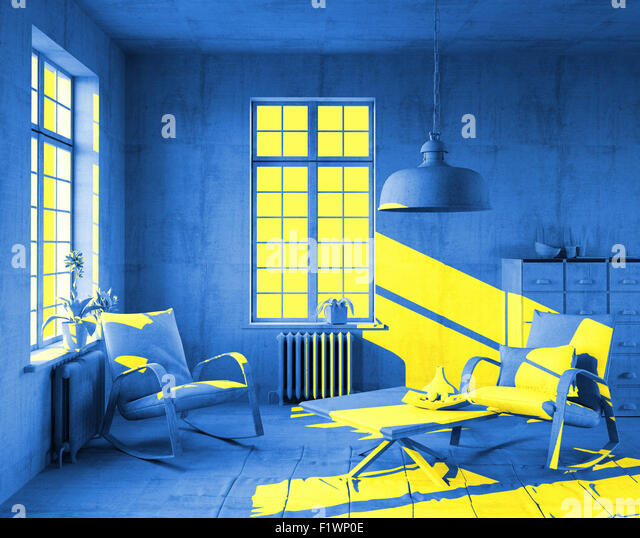 yellow sunlight in art-style interior. 3d concept - Stock Image