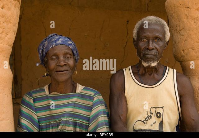 Old couple, M'Lomp, Casamance, Senegal - Stock Image