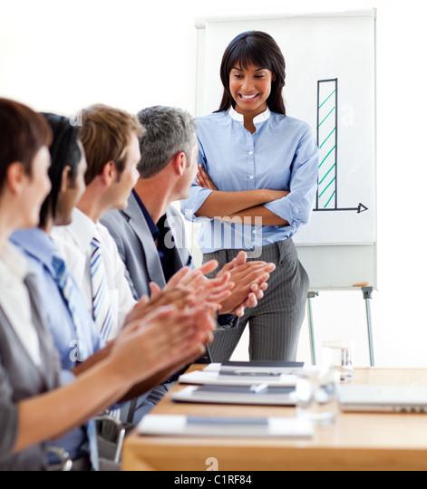 International business people clapping a good presentation - Stock-Bilder