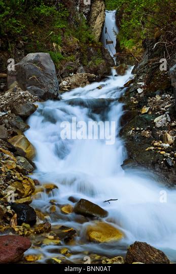 View of National Creek Falls above the Kennecott Mill Town, Wrangell St. Elias National Park & Preserve, Alaska, - Stock-Bilder