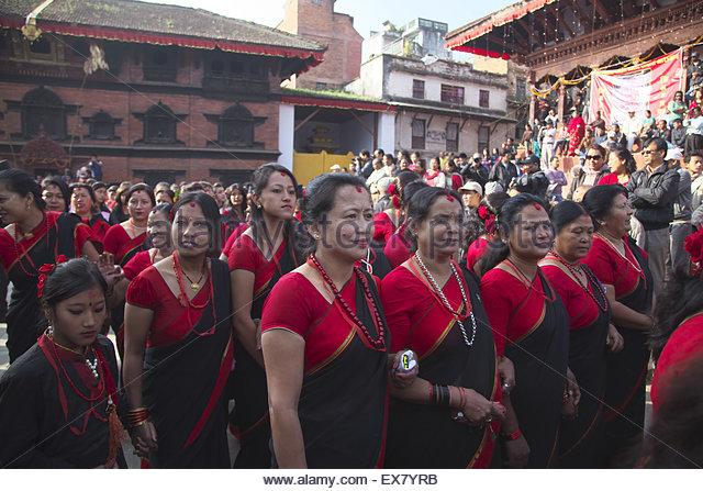 Nepal, Kathmandu, People celebrating diwali. - Stock-Bilder