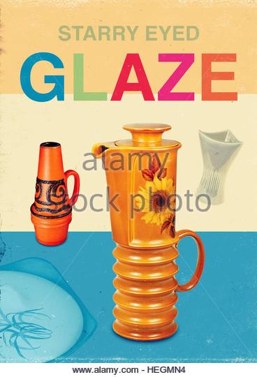 Starry eyed glaze kitsch mid century retro vintage lifestyle - Stock Image
