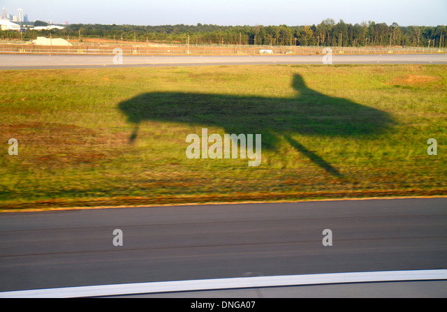 Charlotte North Carolina Charlotte Douglas International Airport CLT onboard inflight US Airways from Miami window - Stock Image
